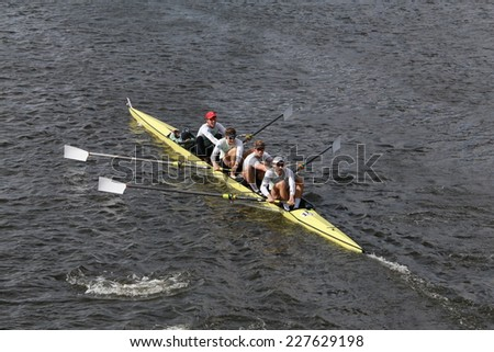 BOSTON - OCTOBER 19, 2014: Cambridge University races in the Head of Charles Regatta Men's Championship Fours - stock photo