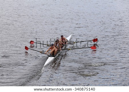 BOSTON - OCTOBER 18, 2015: Camp Randal races in the Head of Charles Regatta Mens's Championship Fours [PUBLIC RACE] - stock photo