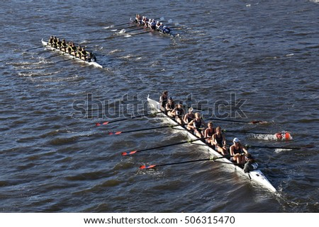 BOSTON - OCTOBER 23, 2016: Colorado (left) JWU Rowing (right) Illinois(bottom)  races in the Head of Charles Regatta Women's Collegiate Eights [PUBLIC RACE]
