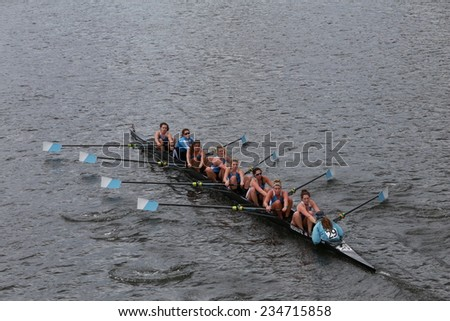 BOSTON - OCTOBER 19, 2014: Columbia University races in the Head of Charles Regatta Women's Championship Eights - stock photo