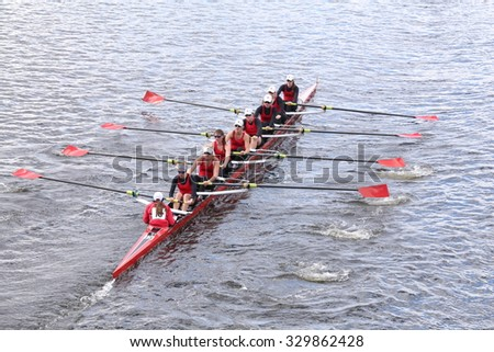 BOSTON - OCTOBER 18, 2015: CRI races in the Head of Charles Regatta Women's Youth Eights - stock photo
