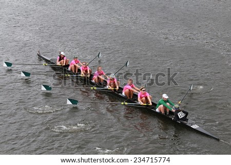 BOSTON - OCTOBER 19, 2014: Dartmouth College races in the Head of Charles Regatta Women's Championship Eights - stock photo