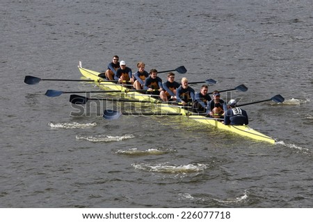 BOSTON - OCTOBER 19, 2014: Drexel University races in the Head of Charles Regatta Men's Championship Eights, Craftsbury Sculling Center won with a time of 14:20 - stock photo