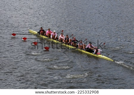 BOSTON - OCTOBER 19, 2014: Harvard University races in the Head of Charles Regatta Men's Championship Eights, Craftsbury Sculling Center won with a time of 14:20 - stock photo