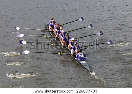 BOSTON - OCTOBER 19, 2014: Holy Cross team races in the Head of Charles Regatta Men's Championship Eights, Craftsbury Sculling Center won with a time of 14:20