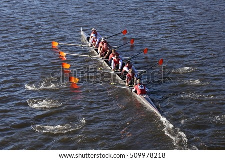 BOSTON - OCTOBER 22, 2016: Laga won the race in the Head of Charles Regatta Men's College Eights [PUBLIC RACE]
