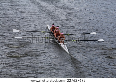 BOSTON - OCTOBER 19, 2014: Loyola Marymount College races in the Head of Charles Regatta women's Championship Fours - stock photo