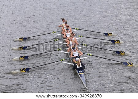 BOSTON - OCTOBER 18, 2015: Michigan  races in the Head of Charles Regatta Women's Master Eights [PUBLIC RACE]