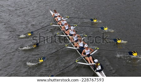 BOSTON - OCTOBER 19, 2014: Michigan University Rowing races in the Head of Charles Regatta Women's Championship Eights