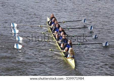BOSTON - OCTOBER 18, 2015: Mills races in the Head of Charles Regatta Women's Youth Eights [PUBLIC RACE] - stock photo