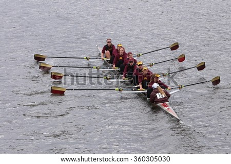 BOSTON - OCTOBER 18, 2015: Minnesota races in the Head of Charles Regatta Women's Master Eights [PUBLIC RACE]