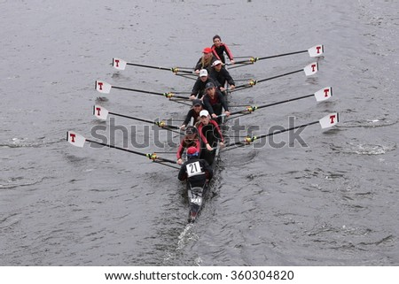 BOSTON - OCTOBER 18, 2015: MIT races in the Head of Charles Regatta Women's Master Eights [PUBLIC RACE]
