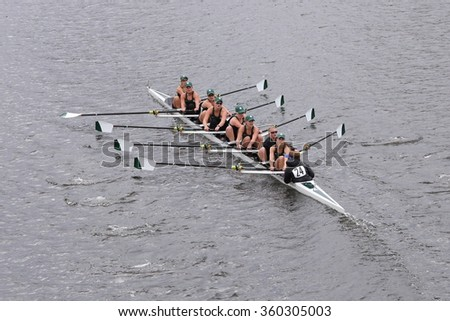 BOSTON - OCTOBER 18, 2015: MSU races in the Head of Charles Regatta Women's Master Eights [PUBLIC RACE]