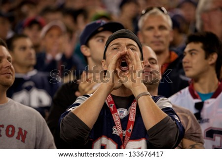 BOSTON - OCTOBER 16: New England Patriots fan shouting at Gillette Stadium, New England Patriots vs. the Dallas Cowboys on October 16, 2011 in Foxborough, Boston, MA