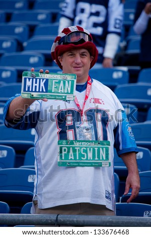 BOSTON - OCTOBER 16: New England Patriots NFL Football fan showing license plate at Gillette Stadium on October 16, 2011 in Foxborough, Boston, MA - stock photo