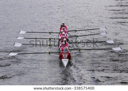 BOSTON - OCTOBER 18, 2015: Niskayuna  races in the Head of Charles Regatta Women's Youth Eights [PUBLIC RACE] - stock photo