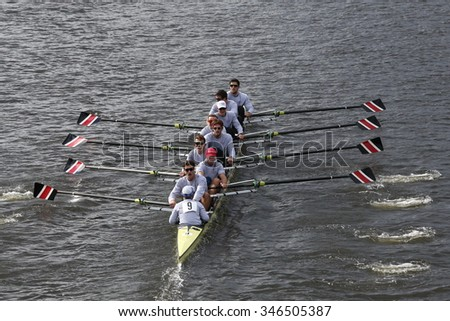BOSTON - OCTOBER 18, 2015: Northeastern University races in the Head of Charles Regatta Men's Master Eights [PUBLIC RACE]