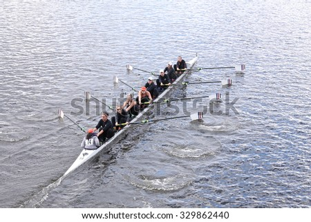 BOSTON - OCTOBER 18, 2015: Old Dominion races in the Head of Charles Regatta Women's Youth Eights - stock photo