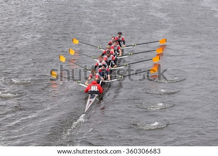 BOSTON - OCTOBER 18, 2015: ORCA races in the Head of Charles Regatta Men's Master Eights [PUBLIC RACE]