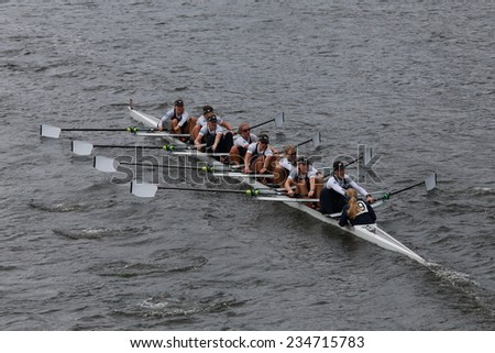BOSTON - OCTOBER 19, 2014: Oxford Univisersity races in the Head of Charles Regatta Women's Championship Eights