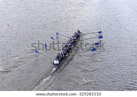 BOSTON - OCTOBER 18, 2015: Princeton National Rowing Association races in the Head of Charles Regatta Women's Youth Eights - stock photo