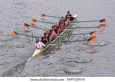BOSTON - OCTOBER 18, 2015: Princeton races in the Head of Charles Regatta Women's Master Eights [PUBLIC RACE]