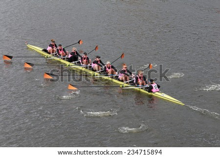 BOSTON - OCTOBER 19, 2014: Princeton University races in the Head of Charles Regatta Women's Championship Eights - stock photo