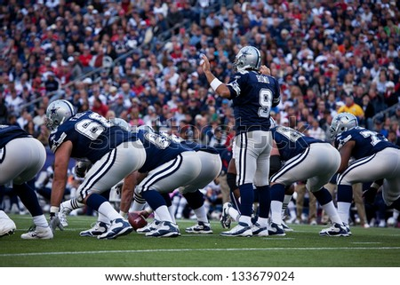 BOSTON - OCTOBER 16: Quarterback Tony Romo, No 9 of Dallas Cowboys at Gillette Stadium, New England Patriots vs. Dallas Cowboys on October 16, 2011 in Foxborough, Boston, MA - stock photo
