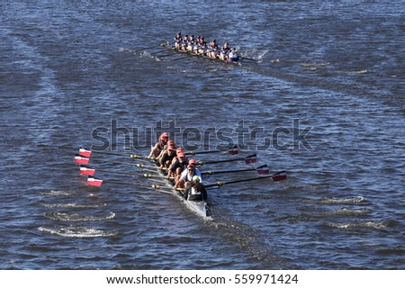 BOSTON - OCTOBER 23, 2016: Ra-Rye (bottom) mercer (top)  races in the Head of Charles Regatta Men's Youth Eights [PUBLIC RACE]
