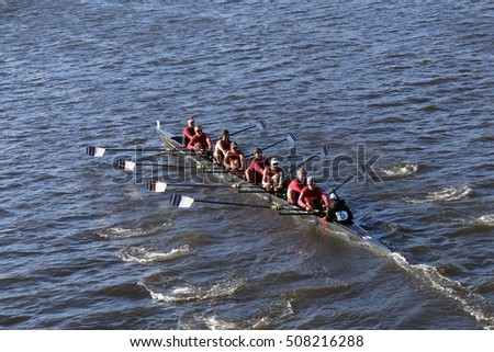 BOSTON - OCTOBER 22, 2016:  races in the Head of Charles Regatta Men's College Eights [PUBLIC RACE] WPI
