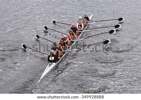 BOSTON - OCTOBER 18, 2015: Radcliffe races in the Head of Charles Regatta Women's Master Eights [PUBLIC RACE]