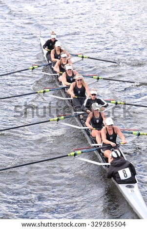 BOSTON - OCTOBER 18, 2015:  Saugatuck races in the Head of Charles Regatta Women's Youth Eights - stock photo