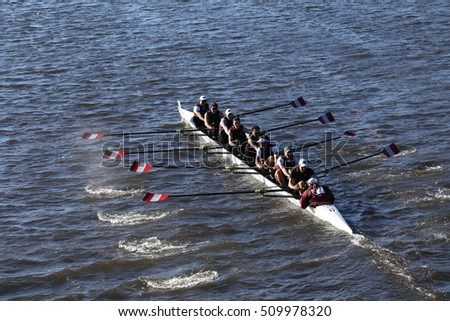 BOSTON - OCTOBER 22, 2016:  St. Josephs races in the Head of Charles Regatta Men's College Eights [PUBLIC RACE]