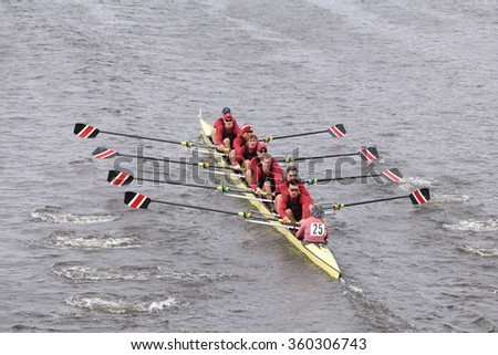 BOSTON - OCTOBER 18, 2015: Stanford Men's Crew races in the Head of Charles Regatta Men's Master Eights [PUBLIC RACE]