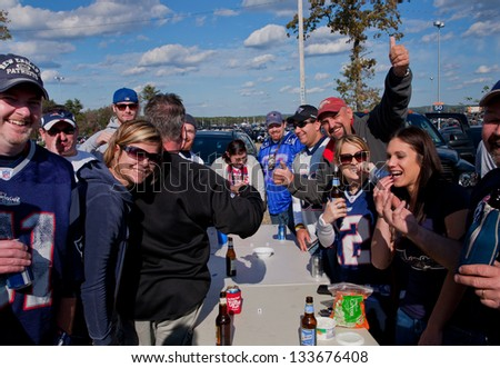 BOSTON - OCTOBER 16: Tailgate party before New England Patriots play Dallas Cowboys at Gillette Stadium on October 16, 2011 in Foxborough, Boston, MA - stock photo