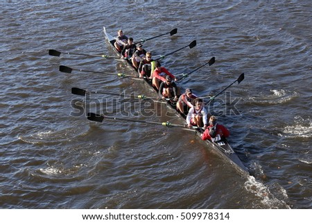 BOSTON - OCTOBER 22, 2016: UGA races in the Head of Charles Regatta Men's College Eights [PUBLIC RACE]