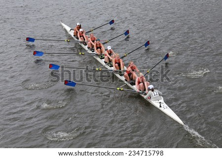 BOSTON - OCTOBER 19, 2014: University of Pennsylvania races in the Head of Charles Regatta Women's Championship Eights - stock photo