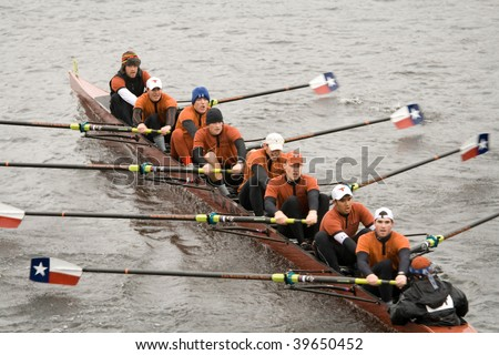 BOSTON - OCTOBER 18: University of Texas Austin men's rowing team competes in the Head Of The Charles Regatta on October 18, 2009 in Boston, Massachusetts.