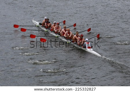 BOSTON - OCTOBER 19, 2014: University of Wisconsin races in the Head of Charles Regatta Men's Championship Eights, Craftsbury Sculling Center won with a time of 14:20