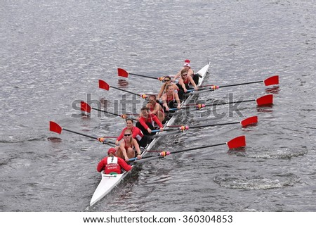 BOSTON - OCTOBER 18, 2015: University of Wisconsin  races in the Head of Charles Regatta Women's Master Eights [PUBLIC RACE]