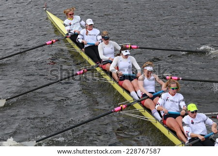 BOSTON - OCTOBER 19, 2014: US Rowing races in the Head of Charles Regatta Women's Championship Eights