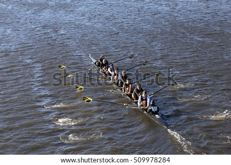 BOSTON - OCTOBER 22, 2016: Vanderbilt University races in the Head of Charles Regatta Men's College Eights [PUBLIC RACE]