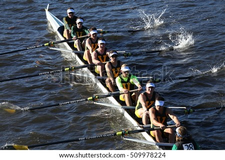 BOSTON - OCTOBER 22, 2016: vermont university races in the Head of Charles Regatta Men's College Eights [PUBLIC RACE]