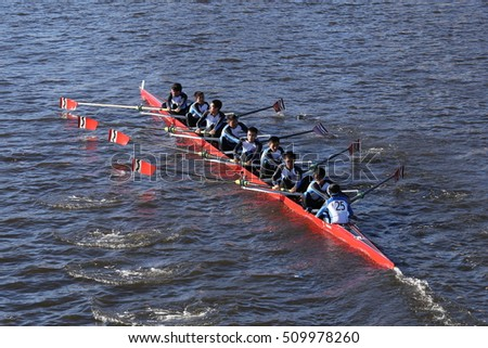 BOSTON - OCTOBER 22, 2016:   Xi'an Jiaotong China  races in the Head of Charles Regatta Men's College Eights [PUBLIC RACE]