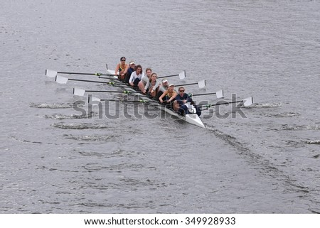 BOSTON - OCTOBER 18, 2015: Yale races in the Head of Charles Regatta Women's Master Eights [PUBLIC RACE]