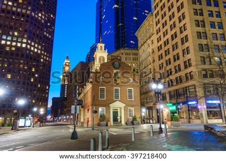 Boston Old State House buiding at night in Massachusetts USA