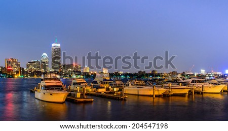 Boston pierskyline  with skyscrapers on Charles river - stock photo