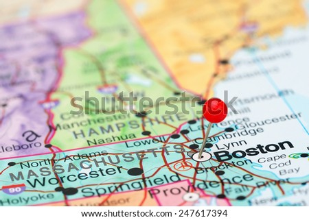 Boston pinned on a map of USA  - stock photo