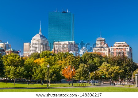 Boston Public Garden in the autumn, Massachusetts.