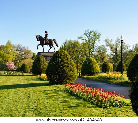 Boston Public Garden in the spring - stock photo